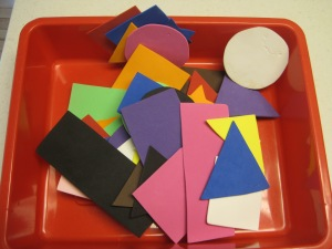 Foam shapes of various colors. For ideas on how to encourage play with these foam cut-outs: https://intelligentnest.com/2012/08/23/shapes-and-colors-activity/